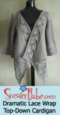 knitting pattern link for dramatic lace wrap top-down cardigan