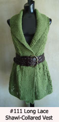 knitting pattern for long lace shawl-collared vest