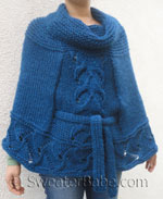 knitting pattern for belted cowl neck poncho