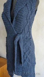 knitting pattern for tie-front cabled long vest