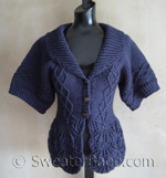shawl-collared nipped-waist cardigan knitting pattern