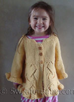 girl's ruffled top-down cardigan knitting pattern
