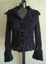 lace inset shaped cardigan (or vest) knitting pattern