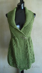 long lace shawl-collared vest knitting pattern