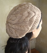 slouchy 2-way cabled hat knitting pattern